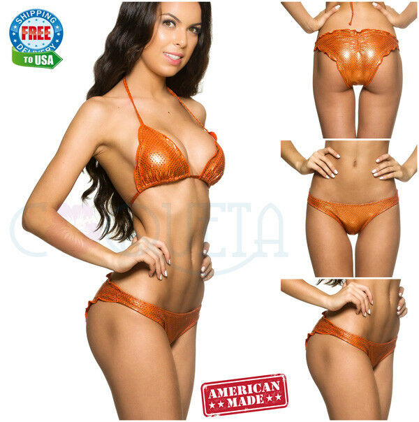 RIPLE coqueta SWIMWEAR ALLURE BRAZILIAN bikini scrunch SHINNY COPPER SEQUINS SET
