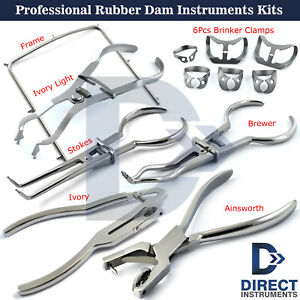 Professional-X4-Rubber-Dam-Sets-Clamps-Forceps-Frame-Dental-Instruments-Kits-New