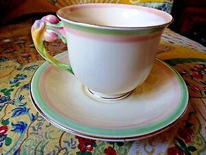 Art Deco Royal Winton Grimwades Tiger Lily Demi Tasse y platillo 2 borde de color  </span>