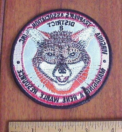 """VIRGINIA TRAPPERS ASSOCIATION  DIST 8 FOX TRAPPING TRAP 4/"""" SEW-ON PATCH"""