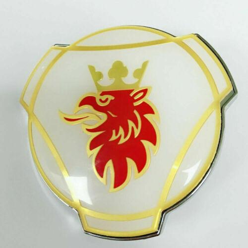 80mm Scania Weiß Gold Logo Emblem LKW Kühlergrill OEM Griffin Abzeichen Stift