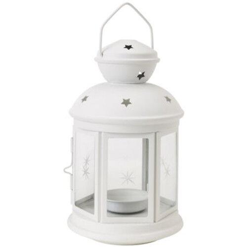 IKEA ROTERA Laterne für Teelicht Windlicht Teelichter Kerzenhalter 21cm WEIß NEU