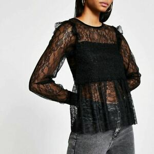 River Island Womens Black Shirred Long Sleeve Lace Top