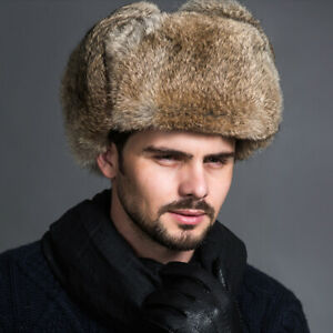 Men-Warm-Faux-Fur-Cap-Russian-Ushanka-Cossack-Military-Outdoor-Hats-Earwamer