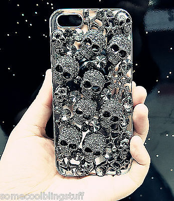 NEW 3D BLACK GOTH DIAMANTE SKULL SPARKLE CASE COVER FOR IPHONE 4 4S 5 5S 5C 6 6s