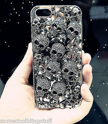NEW 3D BLACK GOTH DIAMANTE SKULL SPARKLE CASE COVER FOR IPHONE 4 4S 5 5S 5C 6 6s