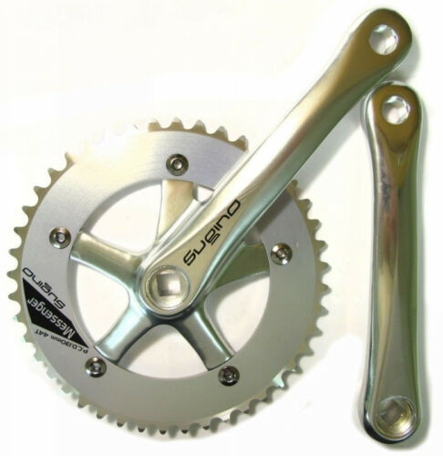 "SUGINO MESSENGER CLASSIC Bike Crank Set 165mm x44t  SILVER TRACK FIXED GEAR 1//8/"""