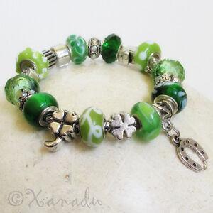 Green-Lucky-Charms-European-Charm-Bracelet-w-Four-Leaf-Clover-Horseshoe-Elephant