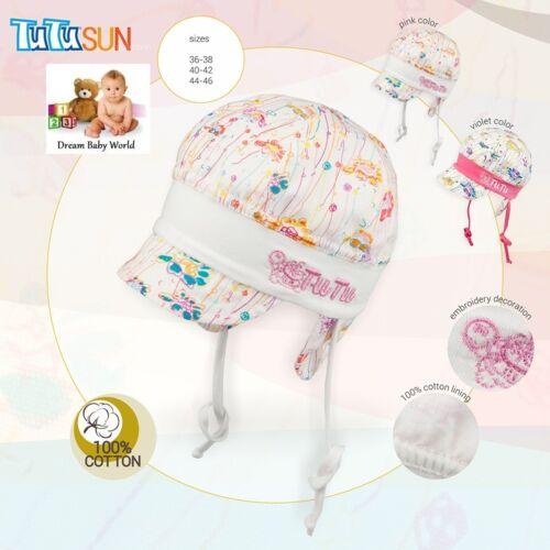 Summer size newborn /& 6-12 months 100/% Cotton girls sun hat TIE UP Spring