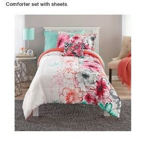 appealing teen girls bedroom bedding sets | Girl's Floral Teen Twin / Twin XL Size Bedding Comforter ...