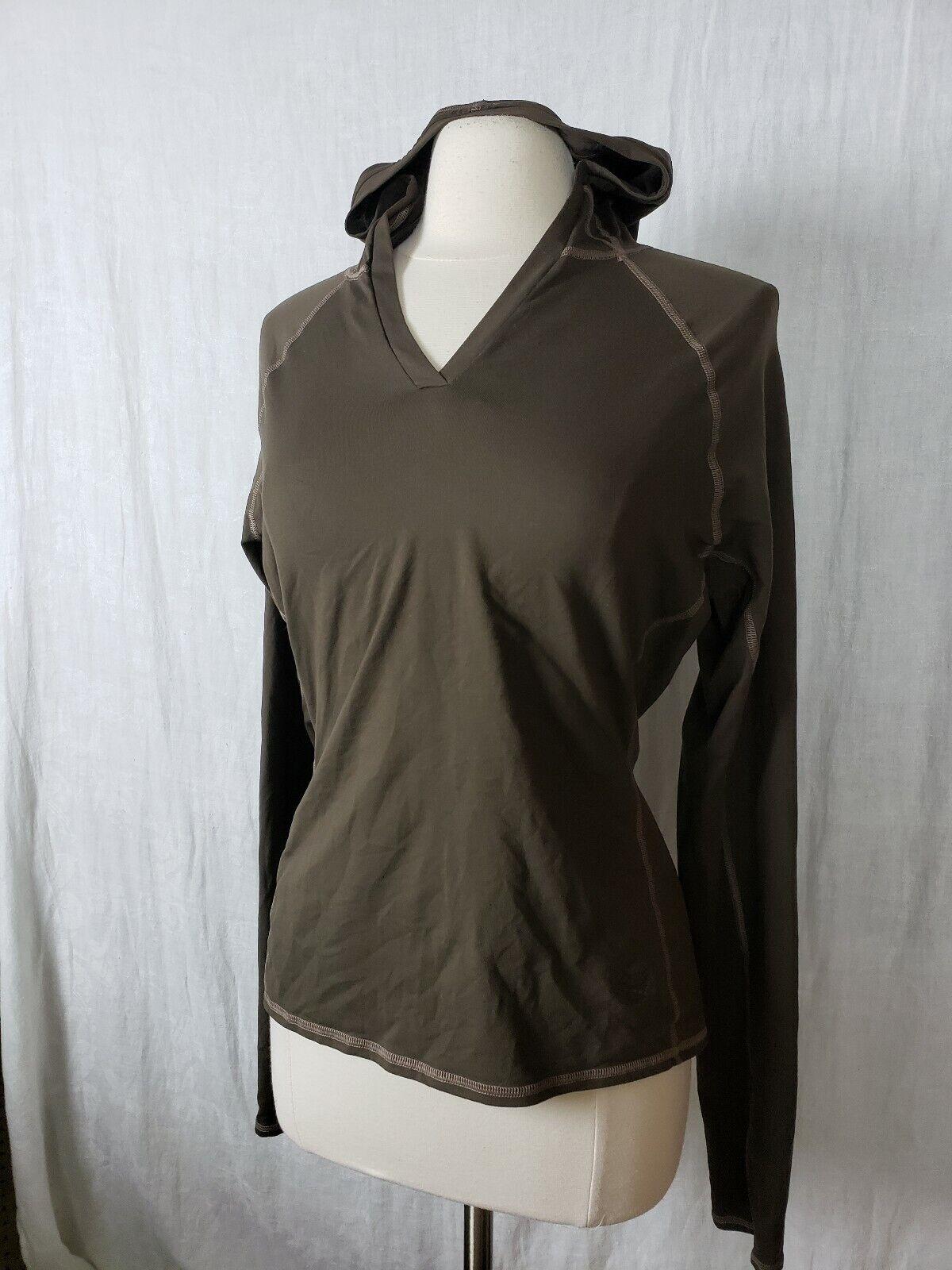 Mountain Hardwear V-Neck Hooded Shirt Size Womens Sz M Brown Long Sleeve