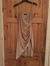 Billie Faires Pale Gold Crushed Velvet Wrap Dress Size 10