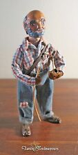Vintage Signed T. Powers Mont. Clay & Cloth Doll Hillbilly Man With Pipe