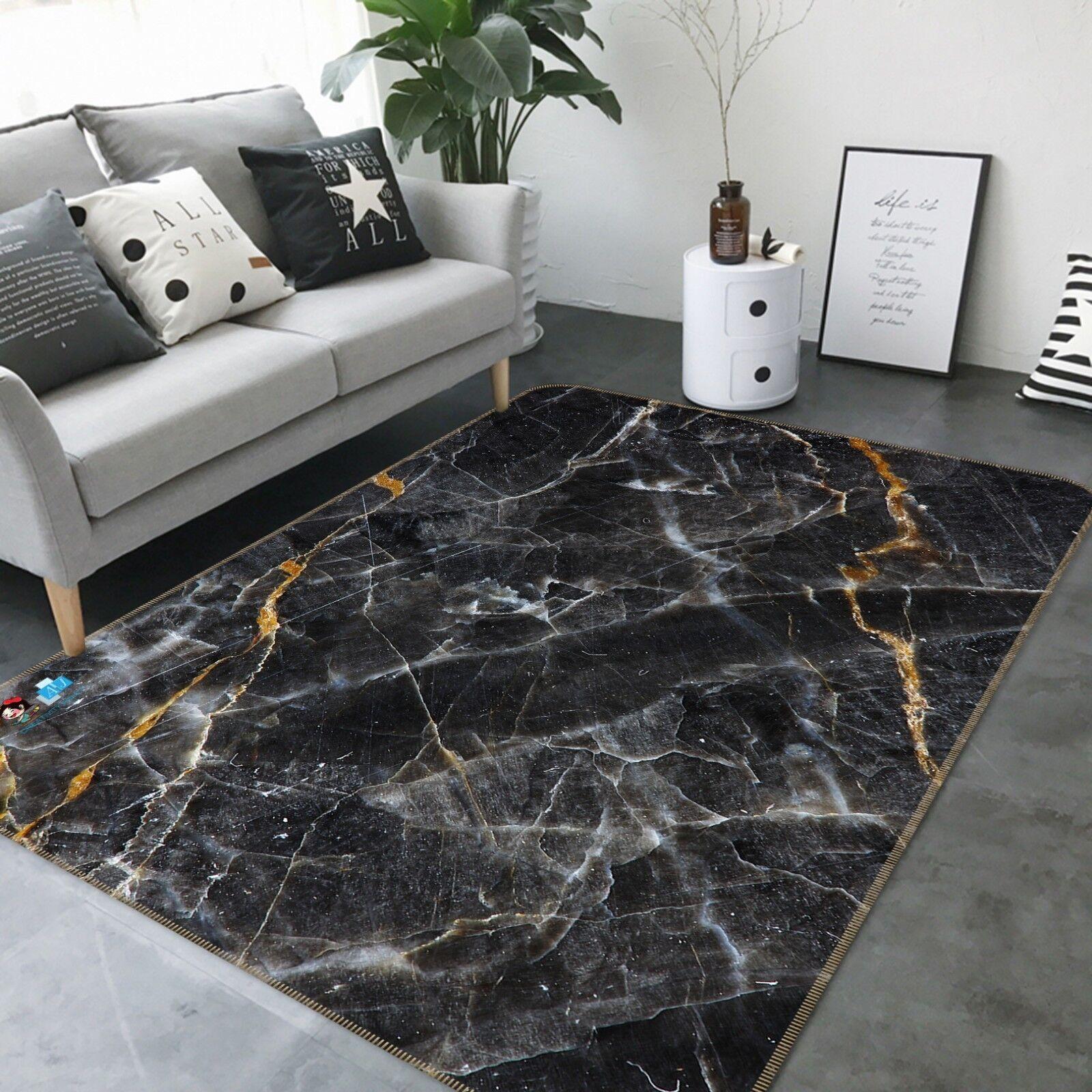 3D Nero Bianco Tile 6 tappetino antiscivolo tappeto camera Tappetino Qualità Elegante foto Tappeto UK