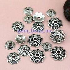 50pcs Tibetan Silver Flower Bead Caps Charm Beads Cap 12x4mm Jewelry Findings