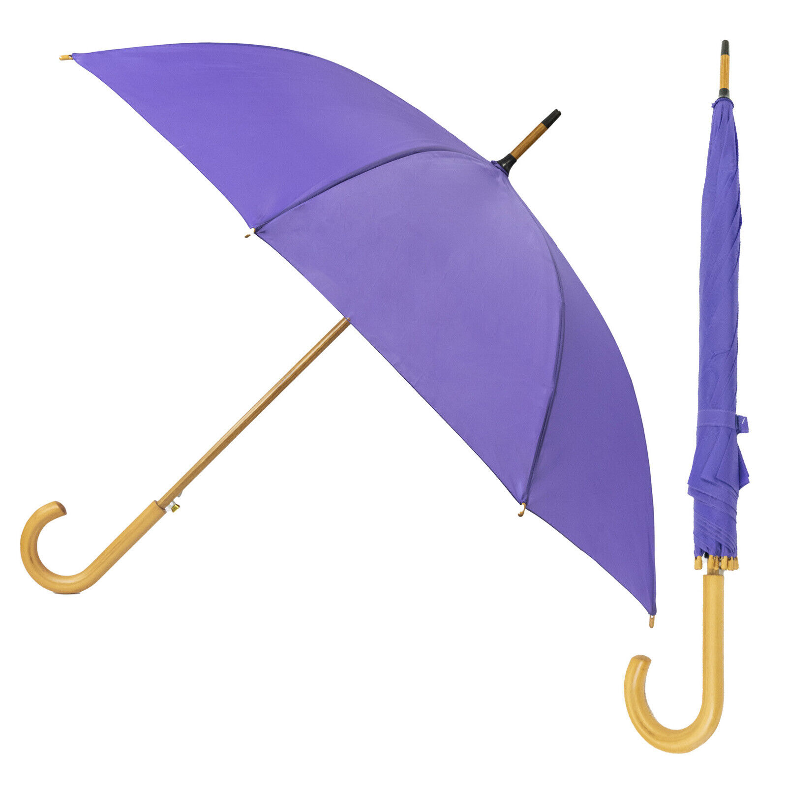 Purple Unisex Umbrella For Men and Women Walking Automatic Open Wood Brolly