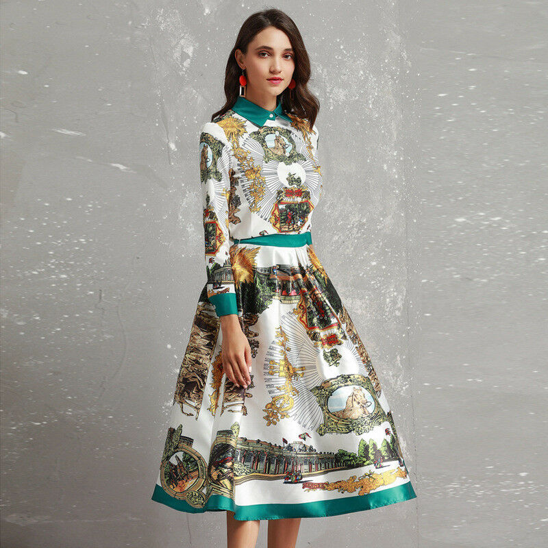 Designer Women Shirt+Skirt 2019 Sprint Ball Gown Dress Sets Print Wholesale New
