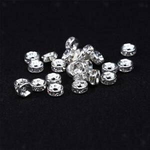 100pcs-Silver-Rondelle-Spacer-Beads-Rhinestone-Bead-Jewelry-Making-Craft-6mm