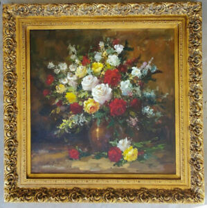 HUGE Vintage Floral Roses Still Life Original Oil Painting w Ornate Gilded Frame