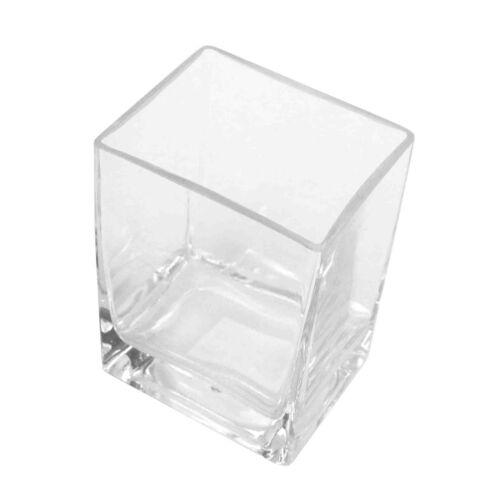 B-Ware Vase Glas Vierkant Matrix Windlicht Glasvase 10cm x 8cm H 14cm