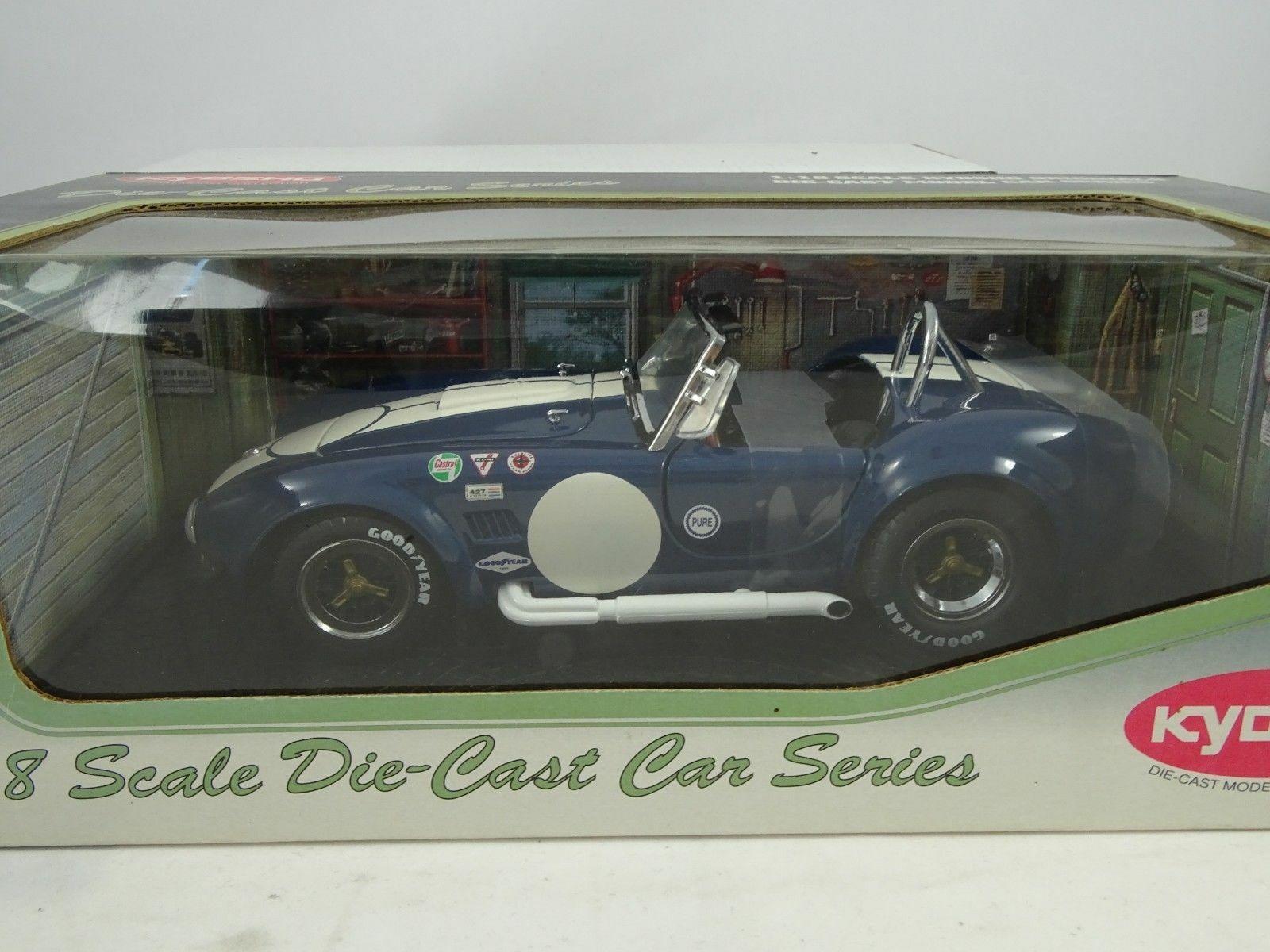 1 18 Kyosho Shelby Cobra 427 s c racing blu bianca nuevo en el embalaje original