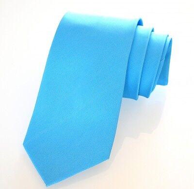 Cravatta Azzurro Uomo Classica Tinta Unita Cerimonia Elegante Fatta A Mano 5c Impermeabile, Resistente Agli Urti E Antimagnetico