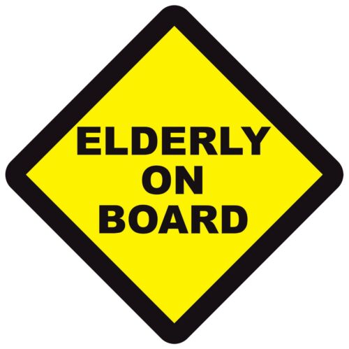 ELDERLY ON BOARD WARNING SAFETY SIGN Sticker Vinyl Decal for car vehicle window