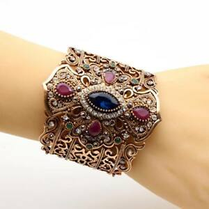 Details about Women Turkish Jewelry Big Bracelet Bangle Blue Islamic  Vintage Indian Retro Cuff