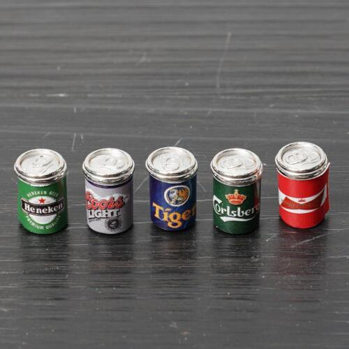 1:12 Dollhouse Miniature Mini 5pcs Assorted Beer Cans Food /& Groceries Bar  Fast