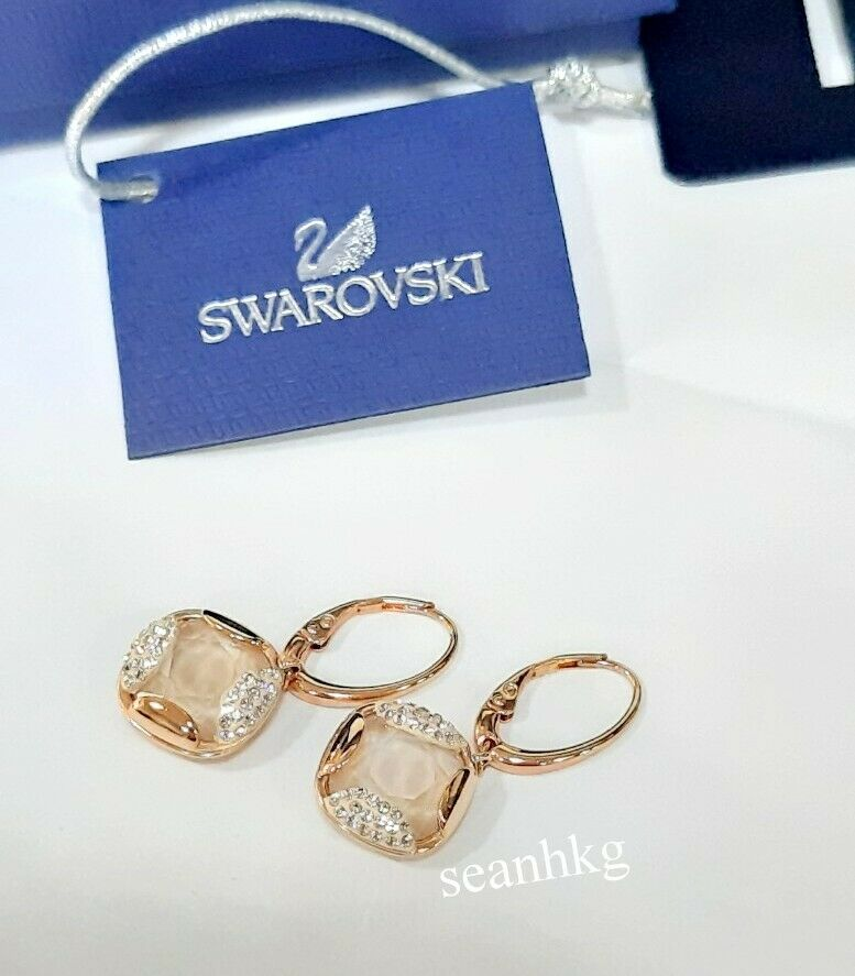 Swarovski Heap Square Pierced Earrings, Multi-colord Crystal Authentic 5364315