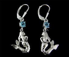 GENUINE BLUE TOPAZ SOLID 925 SILVER HAWAIIAN MERMAID LEVERBACK EARRINGS RHODIUM