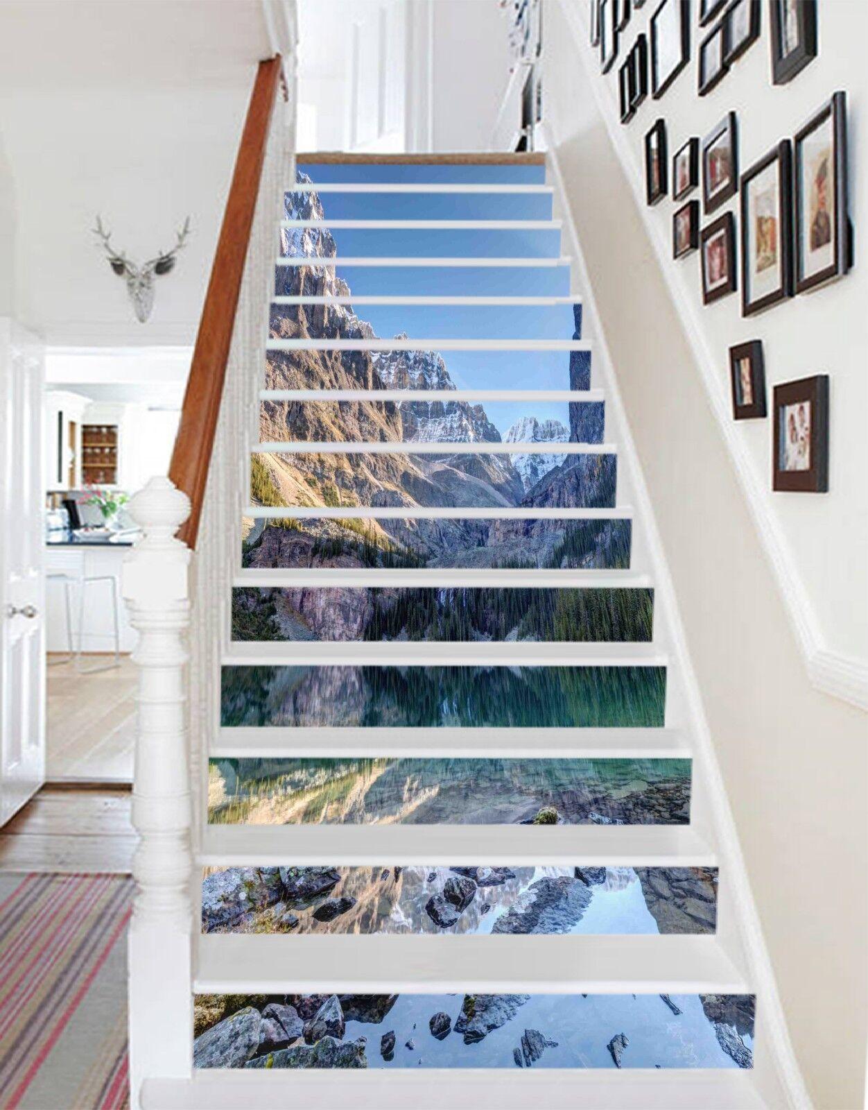 3D Hills Lake 3 Stair Risers Decoration Photo Mural Vinyl Decal WandPapier CA