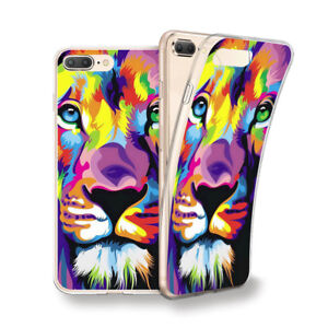 Funda Gel Dibujo León De Colores Para Iphone 6 7 8 Plus X Xs Xs Max