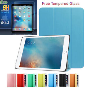Smart Foldable Leather Magnetic Stand Case Cover + Tempered Glass for iPad 2 3 4