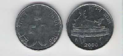Diplomatic India 50 Paise 2000 Standard Parliament Map Coin Three Lions Corn Unc