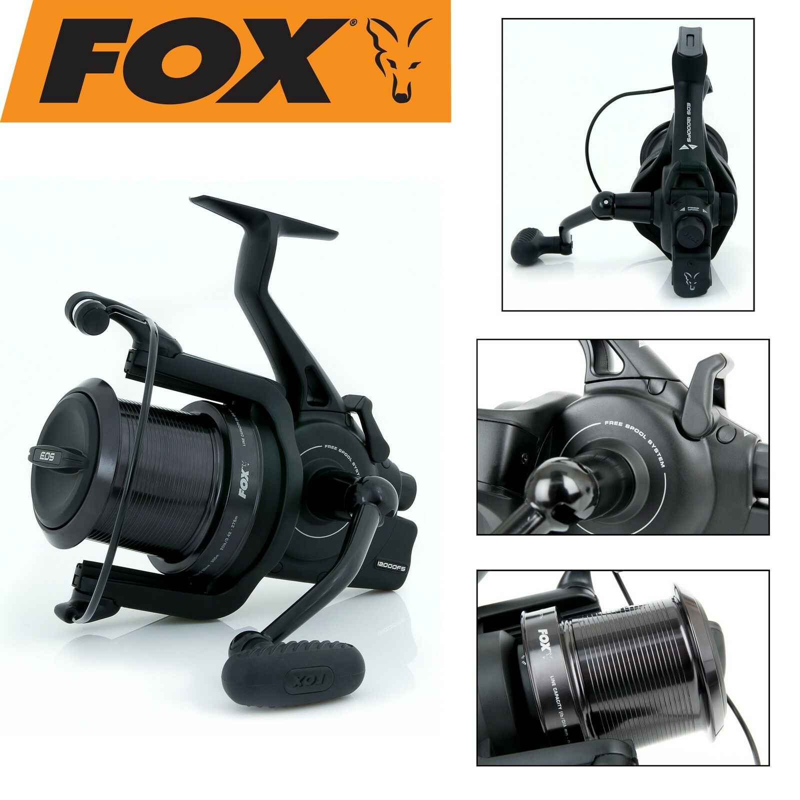 Fox Eos 12000 FS Rolle Freilaufrolle Angelrolle zum Karpfenangeln, Weitwurfrolle