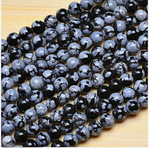 """6mm 8mm 10mm NATURAL SNOWFLAKE OBSIDIAN GEMSTONE ROUND BEADS STRAND 15"""" AAA"""