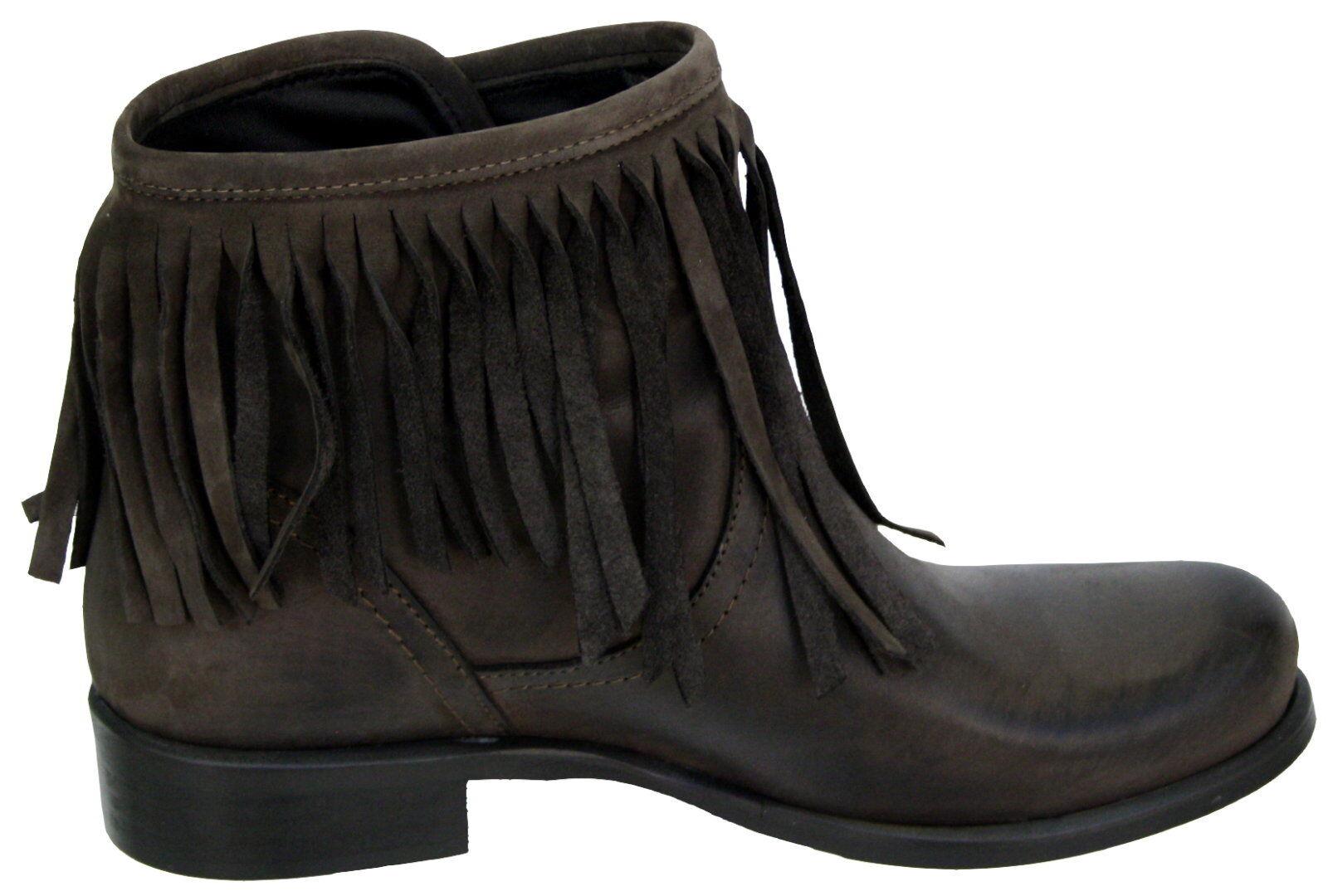 377 Damen Leder Stiefeletten schwarz mit Fransen Model kurz Druckknöpfe schwarz Stiefeletten braun 8365cf