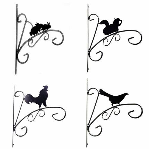 Animal Silhouette Shape Metal Design Black Hanging Basket Wall Bracket Plants