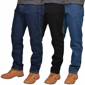 Mens-Basic-Straight-Leg-Jeans-Work-Denim-Pants-Casual-Trousers-All-Waist-Sizes