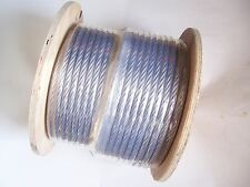 """Clear Vinyl Coated Wire Rope Cable, 1/4"""" - 5/16"""", 7x19, 250 ft reel"""