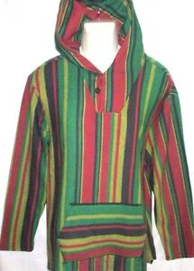 Details about MENS PACSUN RASTA PONCHO HOODIE SWEATSHIRT SIZE S