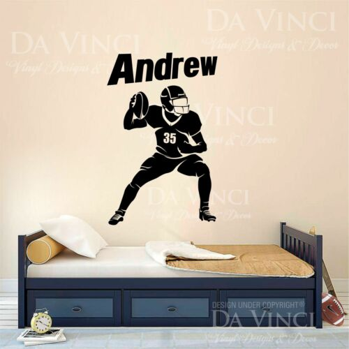 American Football Player Decal Custom Name Wall Personalized Vinyl Sticker A