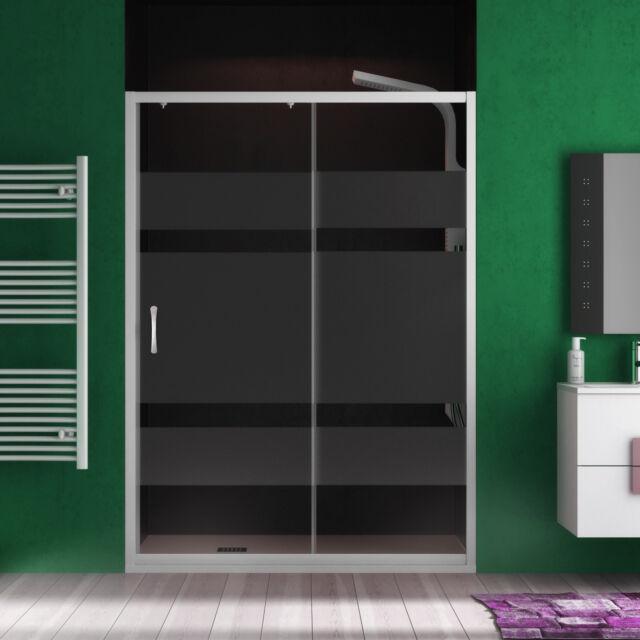 Nicchia doccia box scorrevole 110 cm vetrotemperato serigrafato profilo bianco