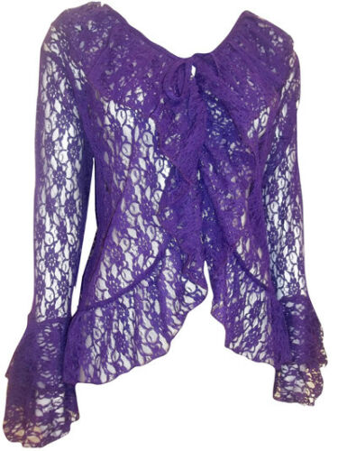 EAONPLUS PURPLE FLORAL LACE BELL SLEEVE CARDIGAN COVER UP PLUS SIZES 18-32