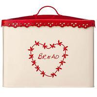 Anglaise Cream Red Vintage Heart Kitchen Home Bread Loaf Storage Bin Tin Jar Pot