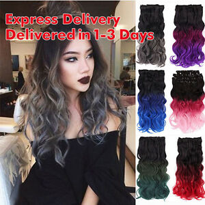 20 full head clip in ombre dip dye hair extensions 160g sexy wavy image is loading 20 034 full head clip in ombre dip pmusecretfo Image collections