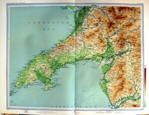 Original-Old-Antique-Print-1903-Colour-Map-Carnarvon-Wales-Bardsey-Tremadoc