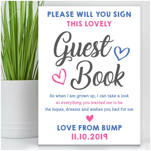 Personalised Baby Shower Guest Book Sign Pink Blue Unisex Baby Shower Table Sign