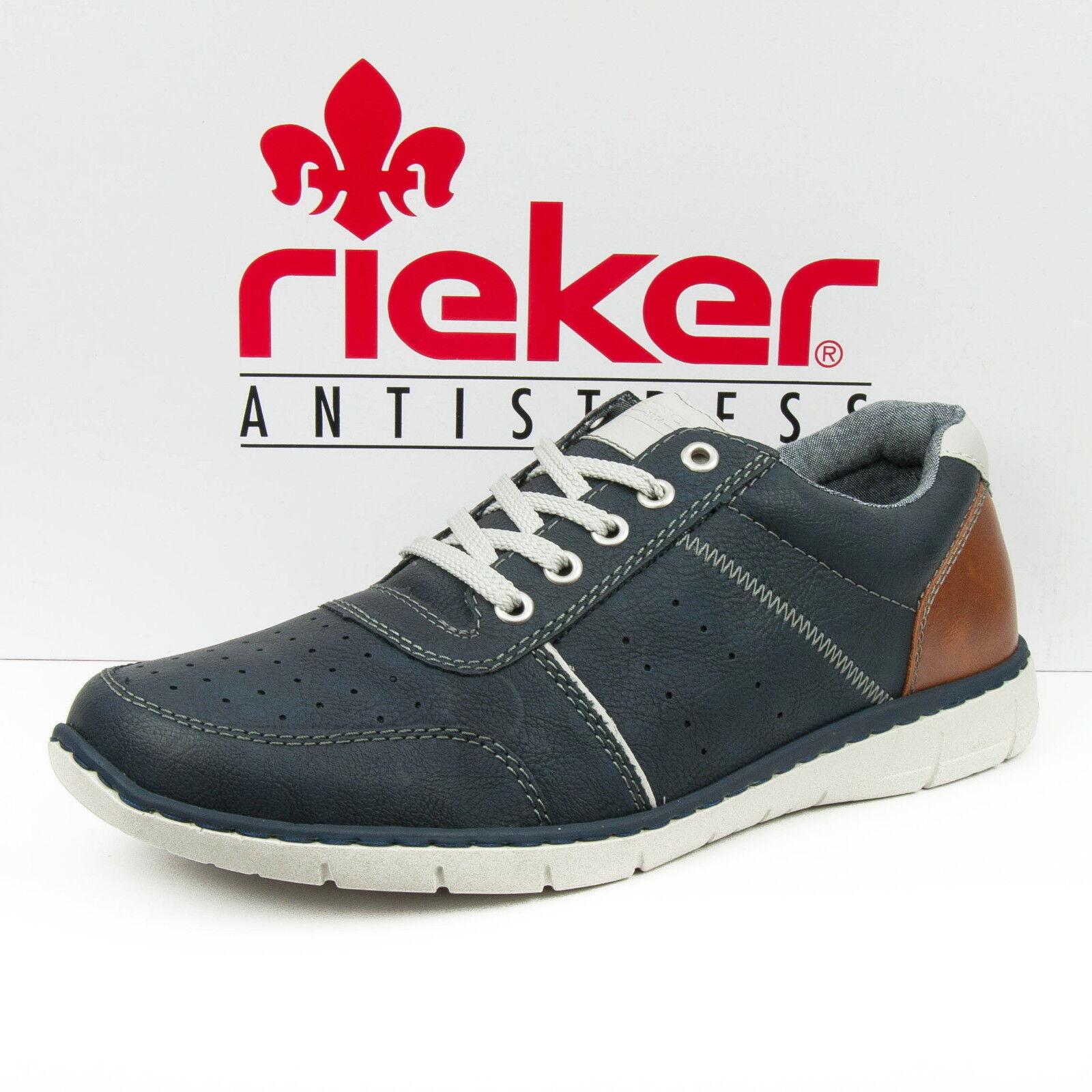 Rieker Scarpe da ginnastica Uomo basse con lacci blu combinato 15853-15 Scarpe classiche da uomo